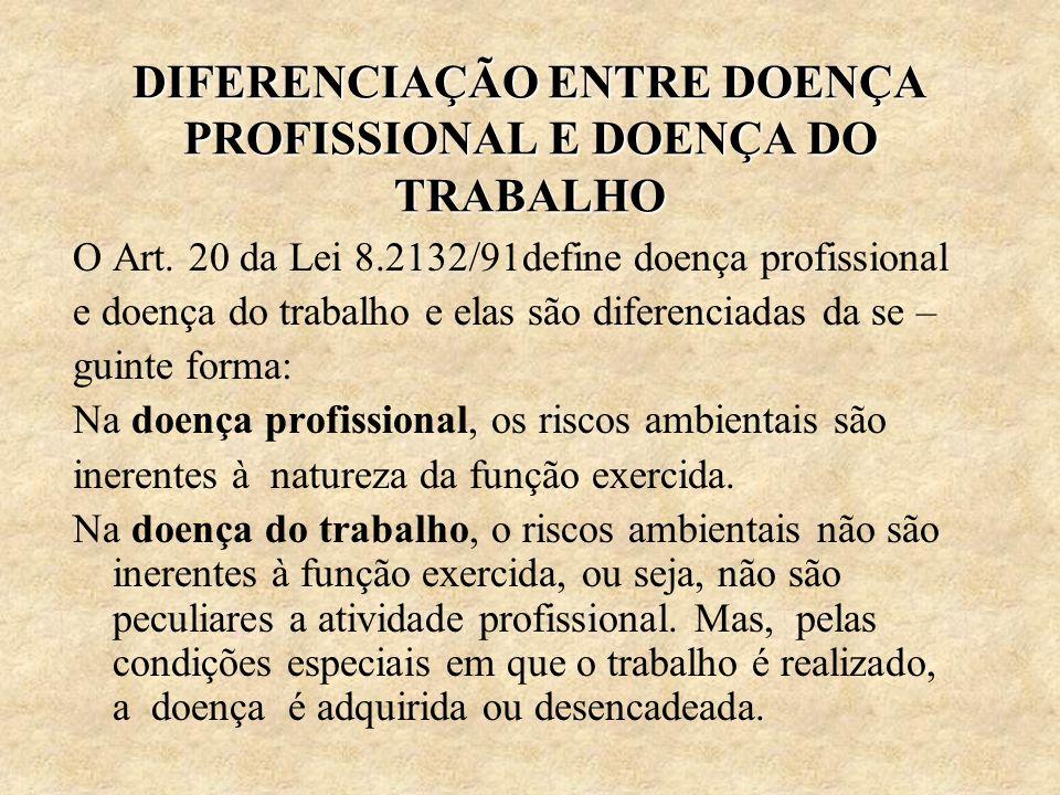 DIFERENCIAÇÃO ENTRE DOENÇA PROFISSIONAL E DOENÇA DO TRABALHO