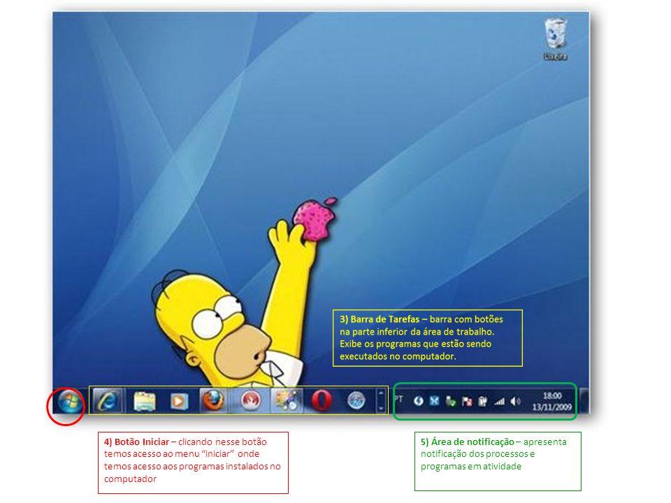 5) Área de notificação – apresenta notificação dos processos e programas em atividade