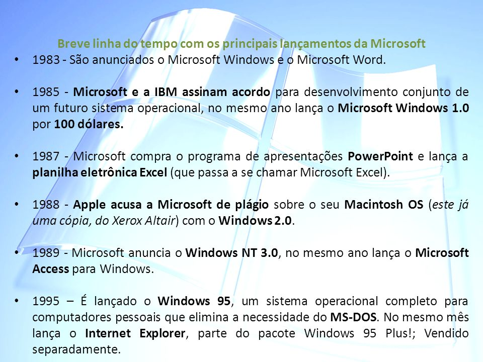 Breve linha do tempo com os principais lançamentos da Microsoft