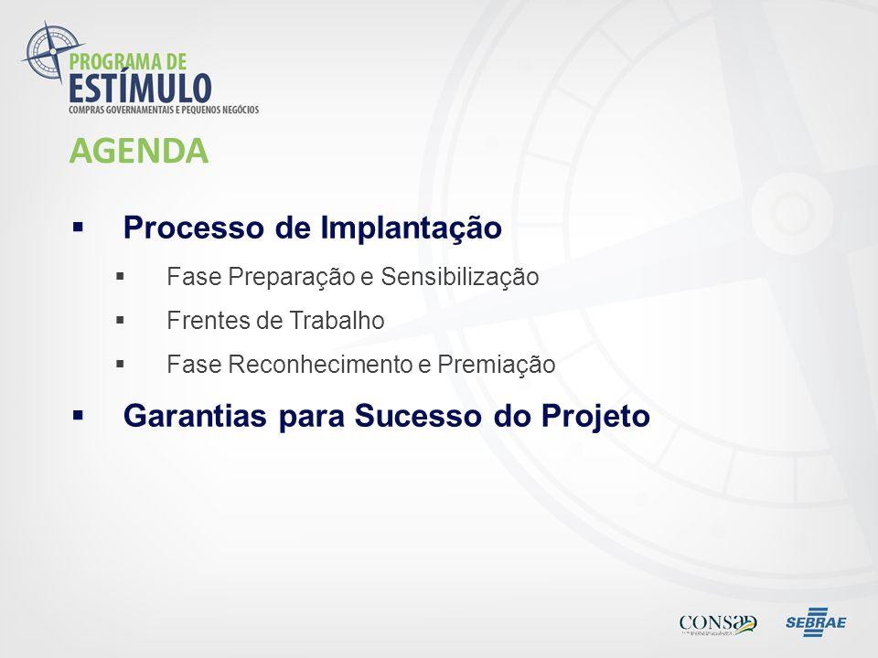 AGENDA Processo de Implantação Garantias para Sucesso do Projeto