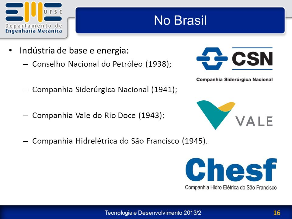 No Brasil Indústria de base e energia: