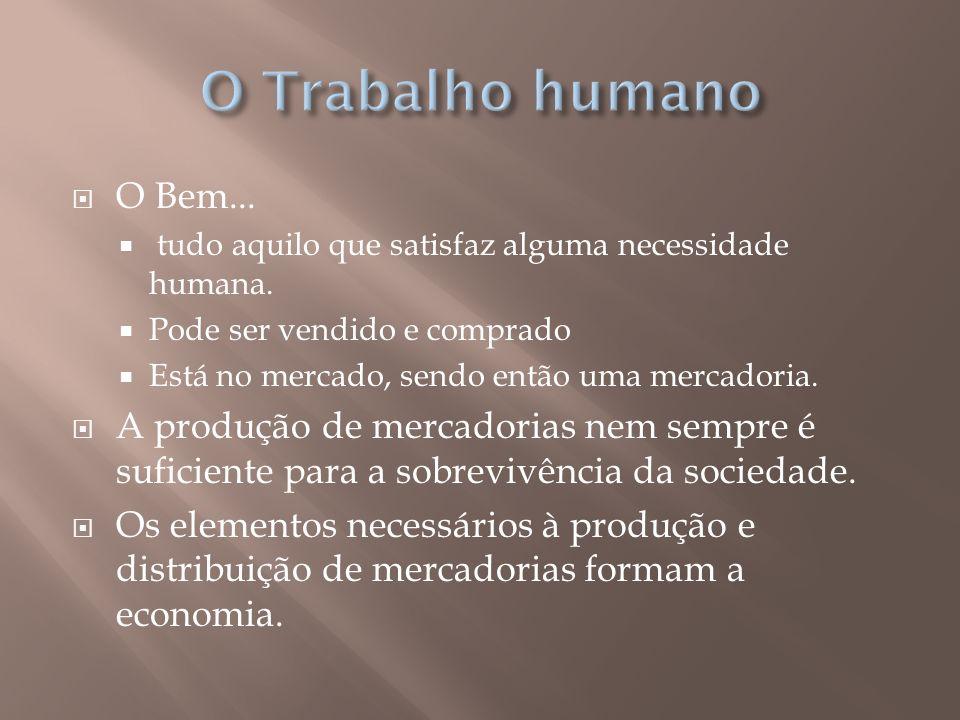 O Trabalho humano O Bem... tudo aquilo que satisfaz alguma necessidade humana. Pode ser vendido e comprado.