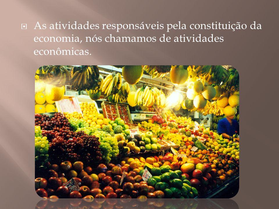 As atividades responsáveis pela constituição da economia, nós chamamos de atividades econômicas.