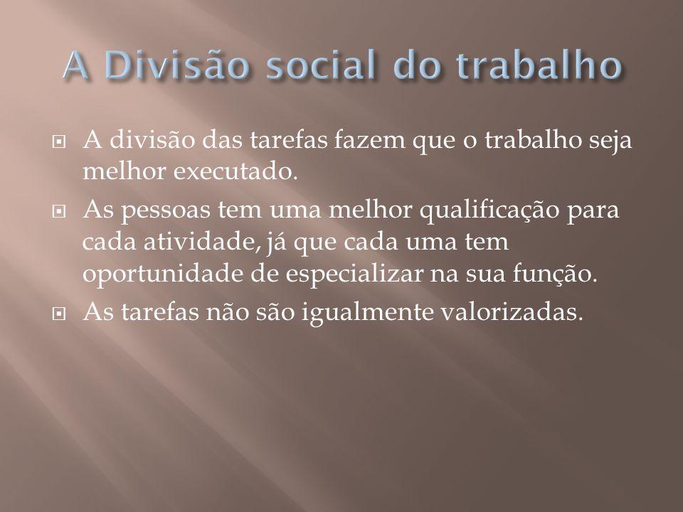 A Divisão social do trabalho