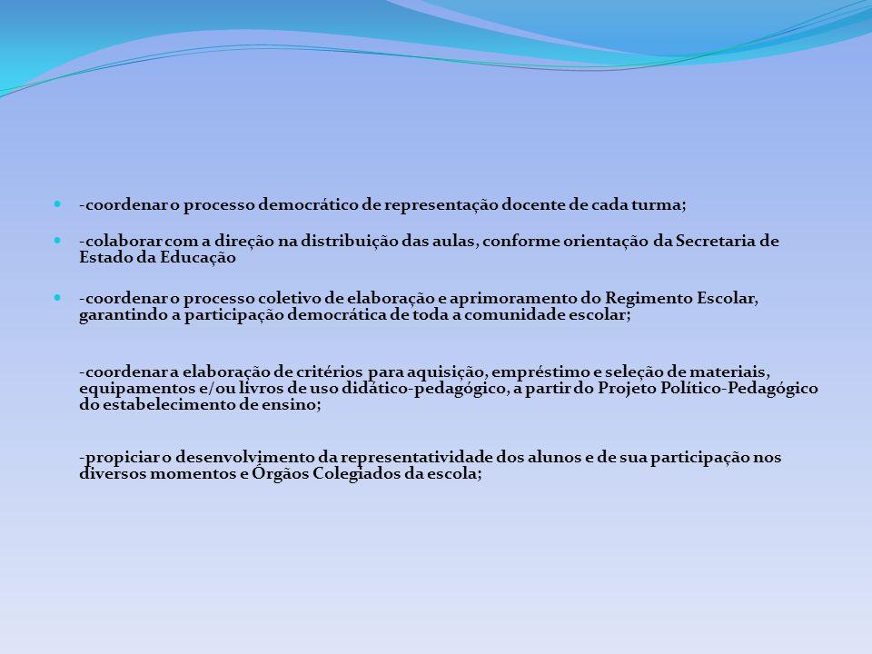 -coordenar o processo democrático de representação docente de cada turma;