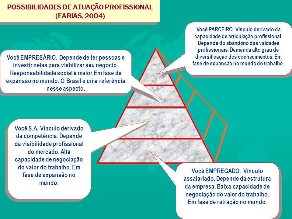 POSSIBILIDADES DE ATUAÇÃO PROFISSIONAL (FARIAS, 2004)
