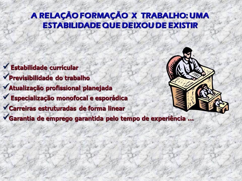 A RELAÇÃO FORMAÇÃO X TRABALHO: UMA ESTABILIDADE QUE DEIXOU DE EXISTIR