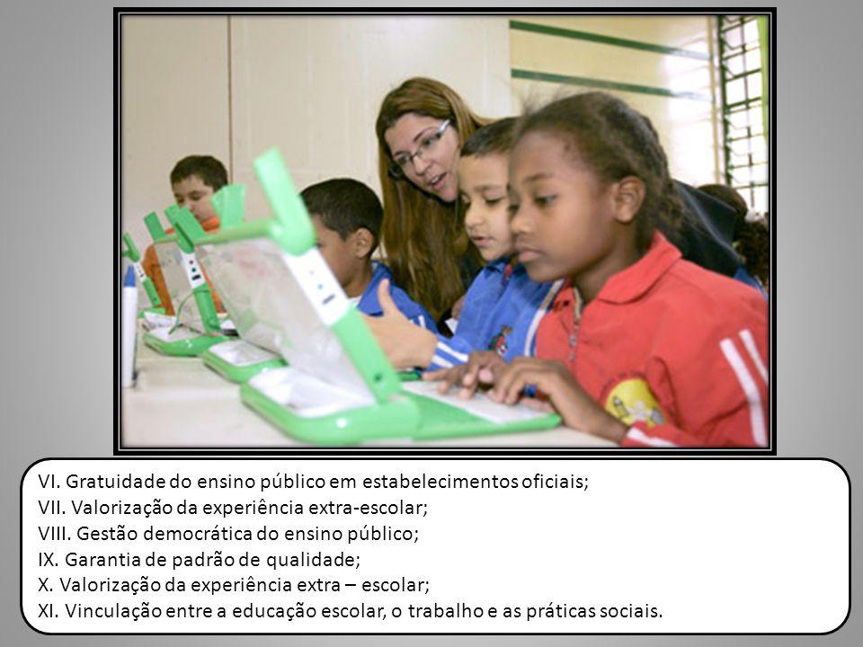 VI. Gratuidade do ensino público em estabelecimentos oficiais;