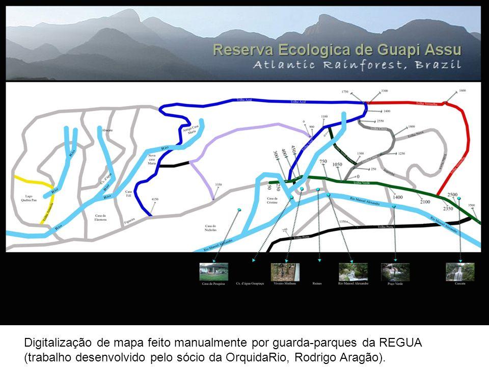 Digitalização de mapa feito manualmente por guarda-parques da REGUA (trabalho desenvolvido pelo sócio da OrquidaRio, Rodrigo Aragão).
