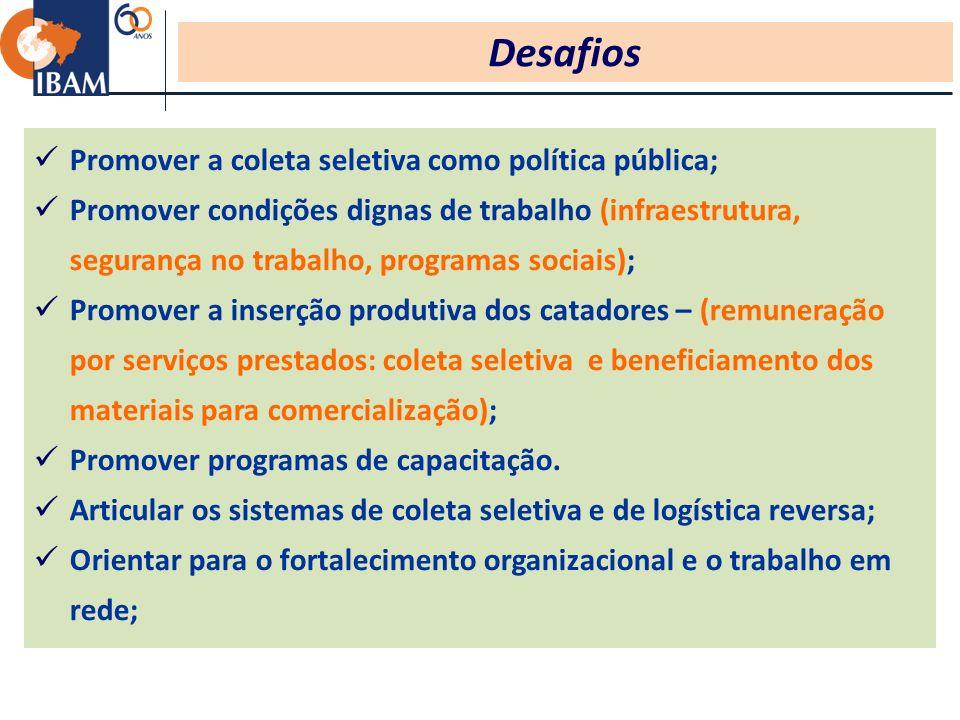 Desafios Promover a coleta seletiva como política pública;