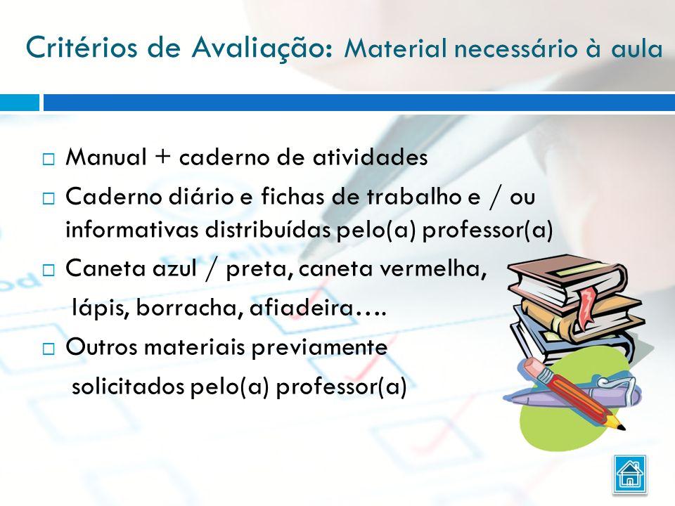 Critérios de Avaliação: Material necessário à aula