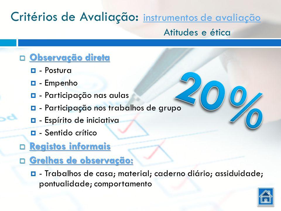 Critérios de Avaliação: instrumentos de avaliação Atitudes e ética