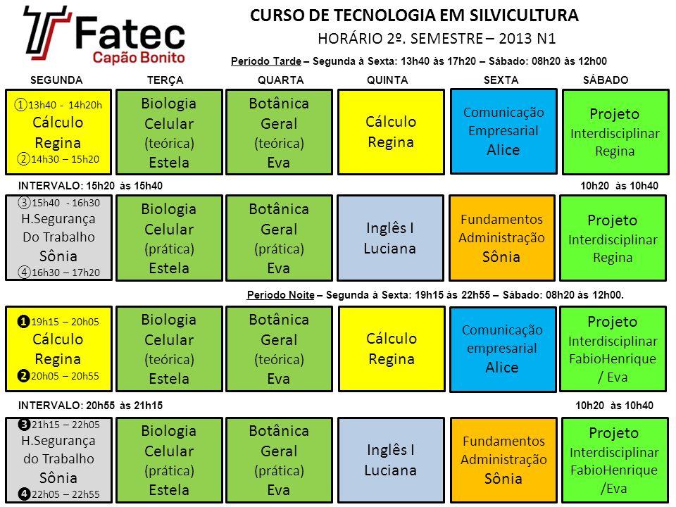CURSO DE TECNOLOGIA EM SILVICULTURA HORÁRIO 2º. SEMESTRE – 2013 N1