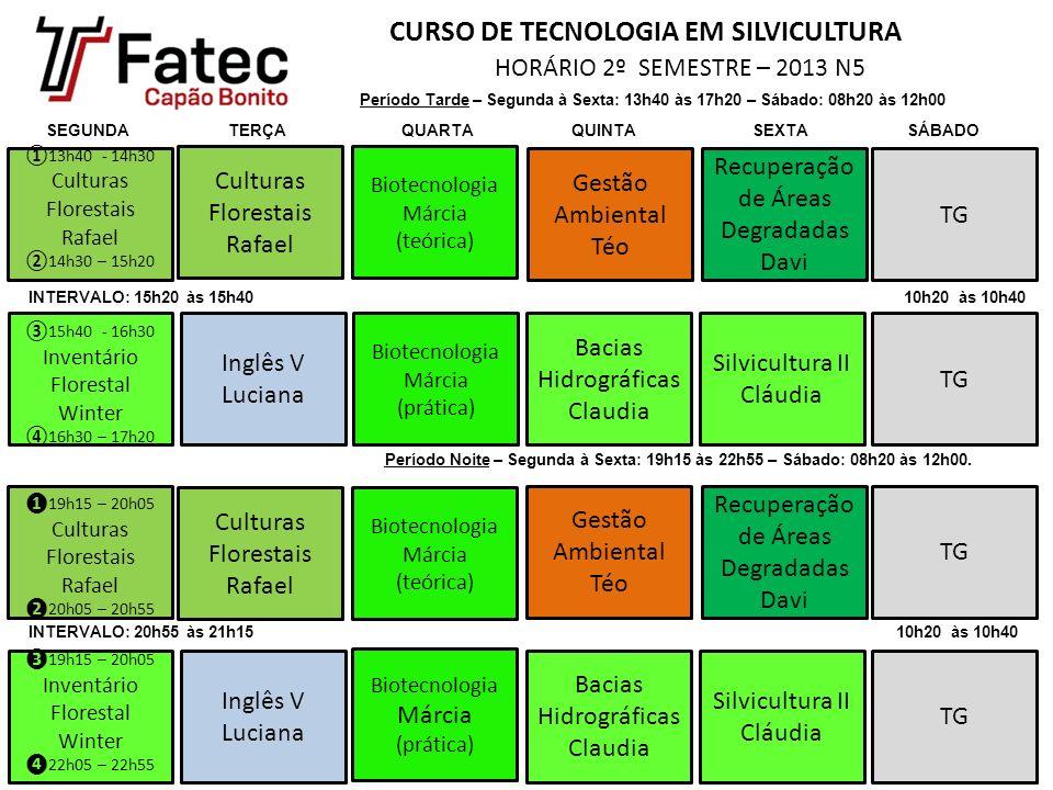 CURSO DE TECNOLOGIA EM SILVICULTURA HORÁRIO 2º SEMESTRE – 2013 N5