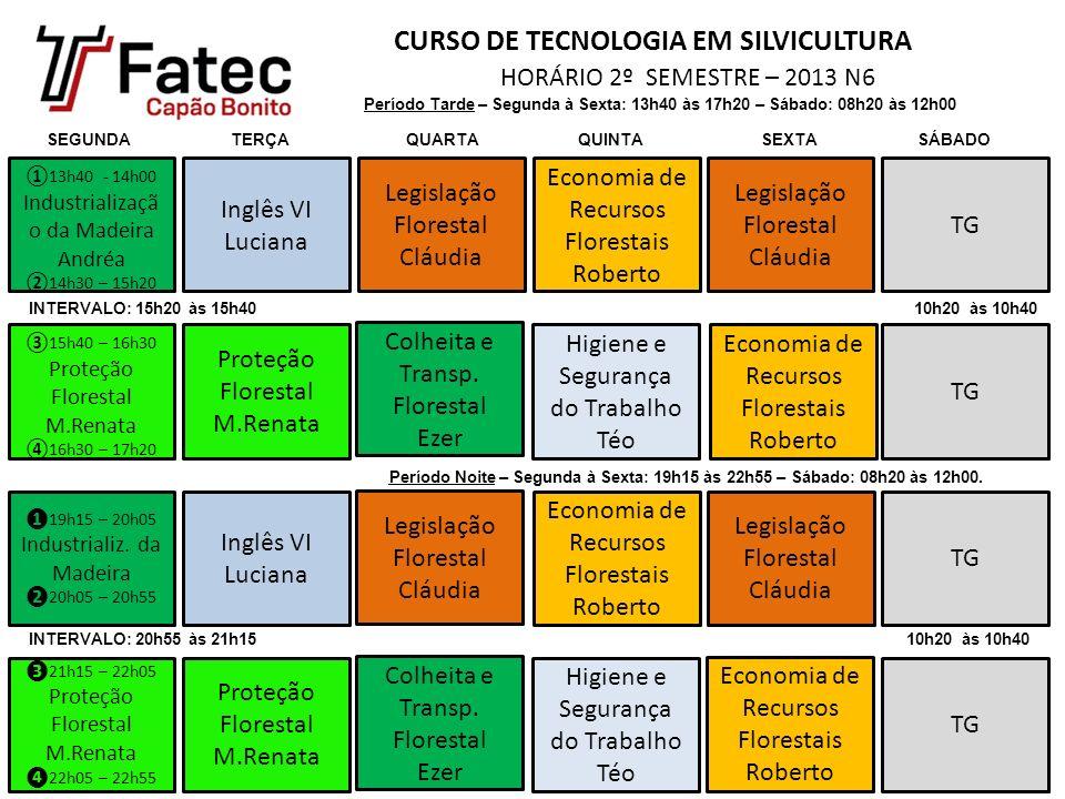 CURSO DE TECNOLOGIA EM SILVICULTURA HORÁRIO 2º SEMESTRE – 2013 N6