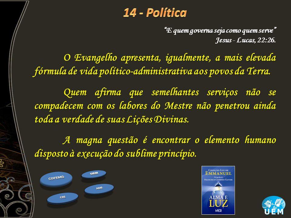 14 - Política E quem governa seja como quem serve Jesus - Lucas, 22:26.