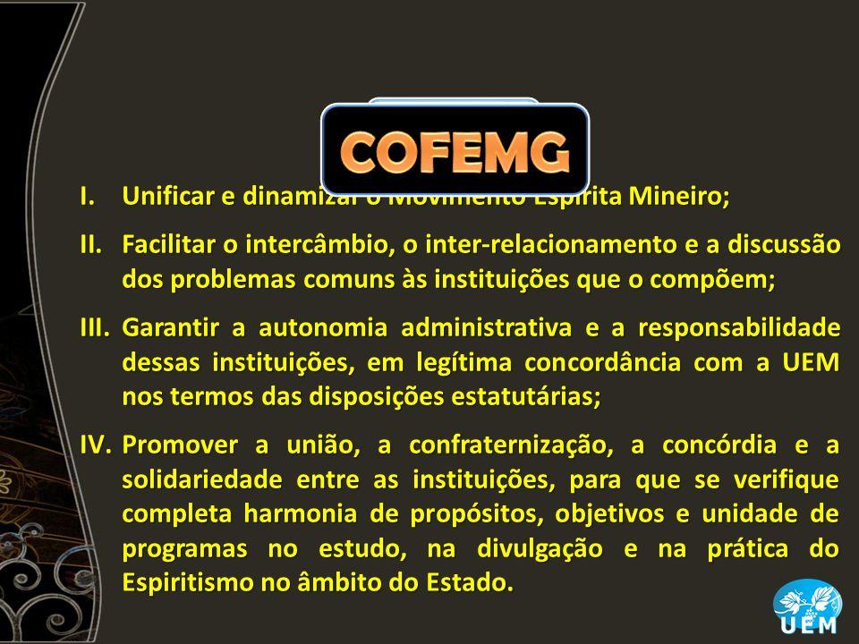 COFEMG FUNÇÕES Unificar e dinamizar o Movimento Espírita Mineiro;