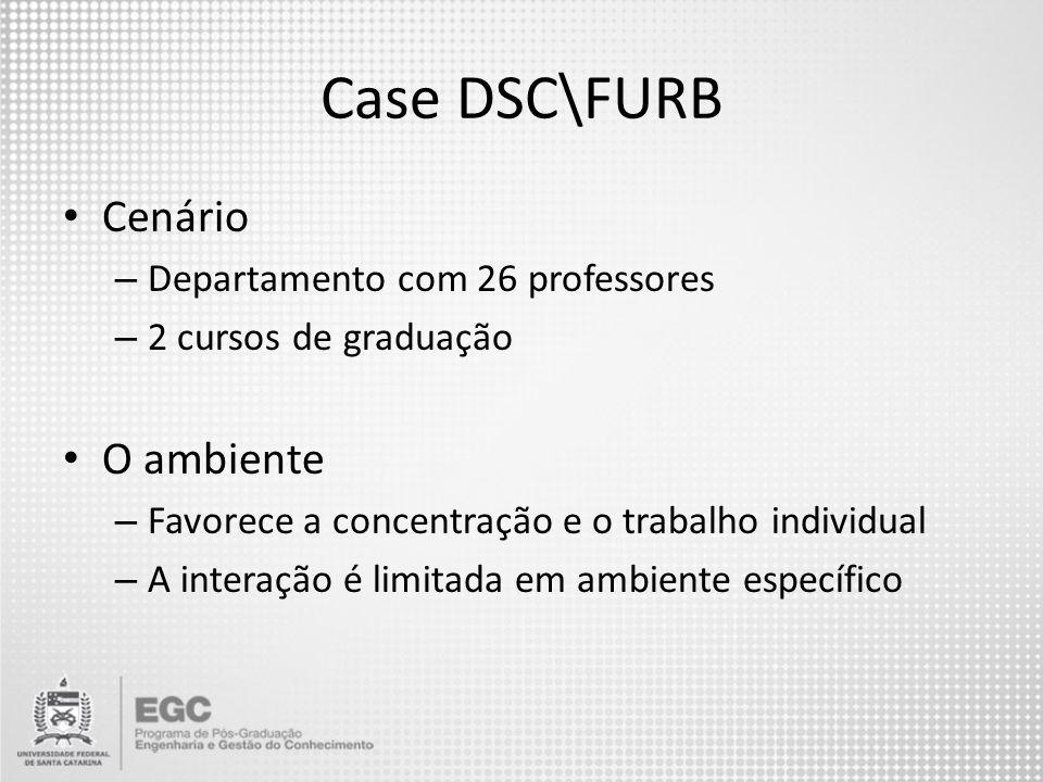 Case DSC\FURB Cenário O ambiente Departamento com 26 professores