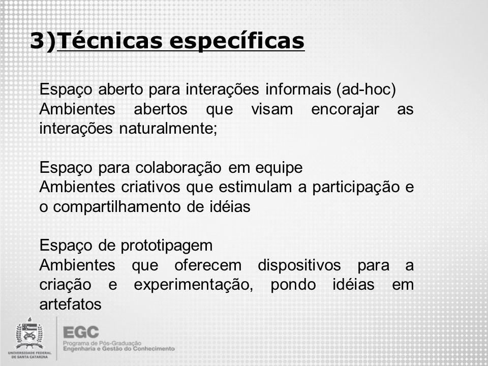 Técnicas específicas Espaço aberto para interações informais (ad-hoc)