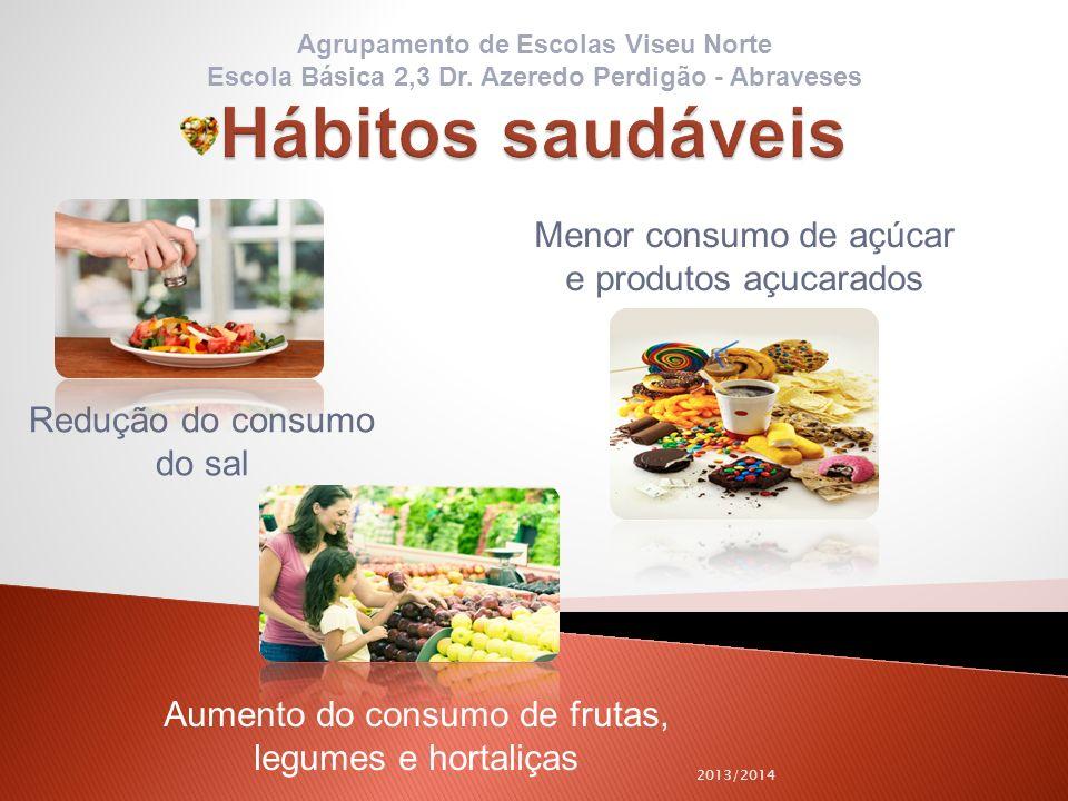 Hábitos saudáveis Menor consumo de açúcar e produtos açucarados