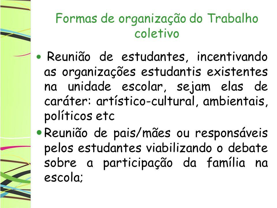 Formas de organização do Trabalho coletivo