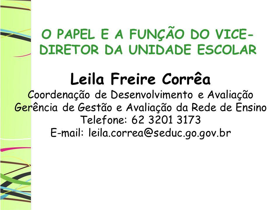 O PAPEL E A FUNÇÃO DO VICE-DIRETOR DA UNIDADE ESCOLAR