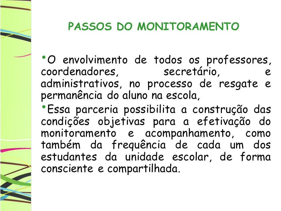 PASSOS DO MONITORAMENTO