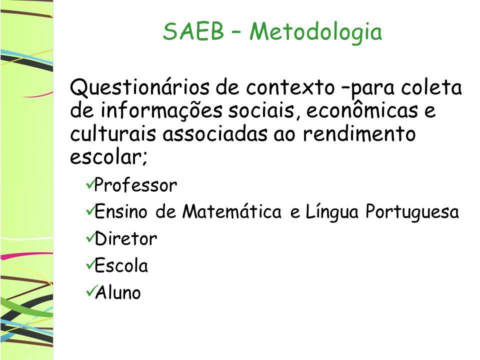 SAEB – Metodologia Questionários de contexto –para coleta de informações sociais, econômicas e culturais associadas ao rendimento escolar;
