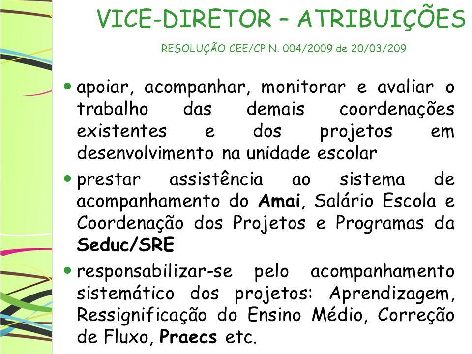 VICE-DIRETOR – ATRIBUIÇÕES RESOLUÇÃO CEE/CP N. 004/2009 de 20/03/209
