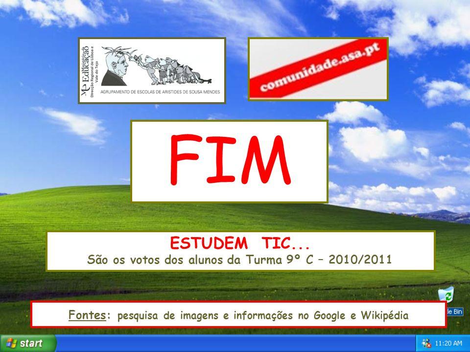 FIM ESTUDEM TIC... São os votos dos alunos da Turma 9º C – 2010/2011