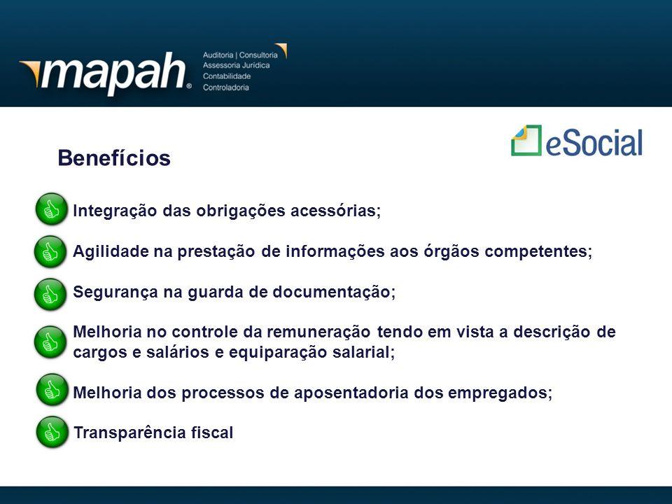 Benefícios Integração das obrigações acessórias;