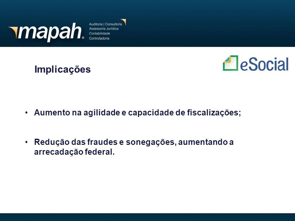 Implicações Aumento na agilidade e capacidade de fiscalizações;