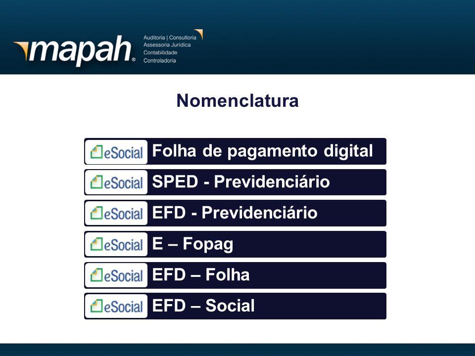 Nomenclatura Folha de pagamento digital SPED - Previdenciário