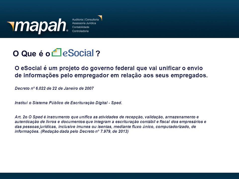 O Que é o O eSocial é um projeto do governo federal que vai unificar o envio de informações pelo empregador em relação aos seus empregados.