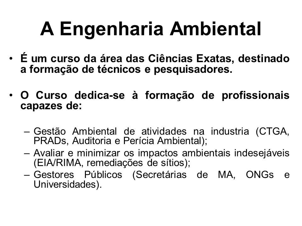 A Engenharia Ambiental