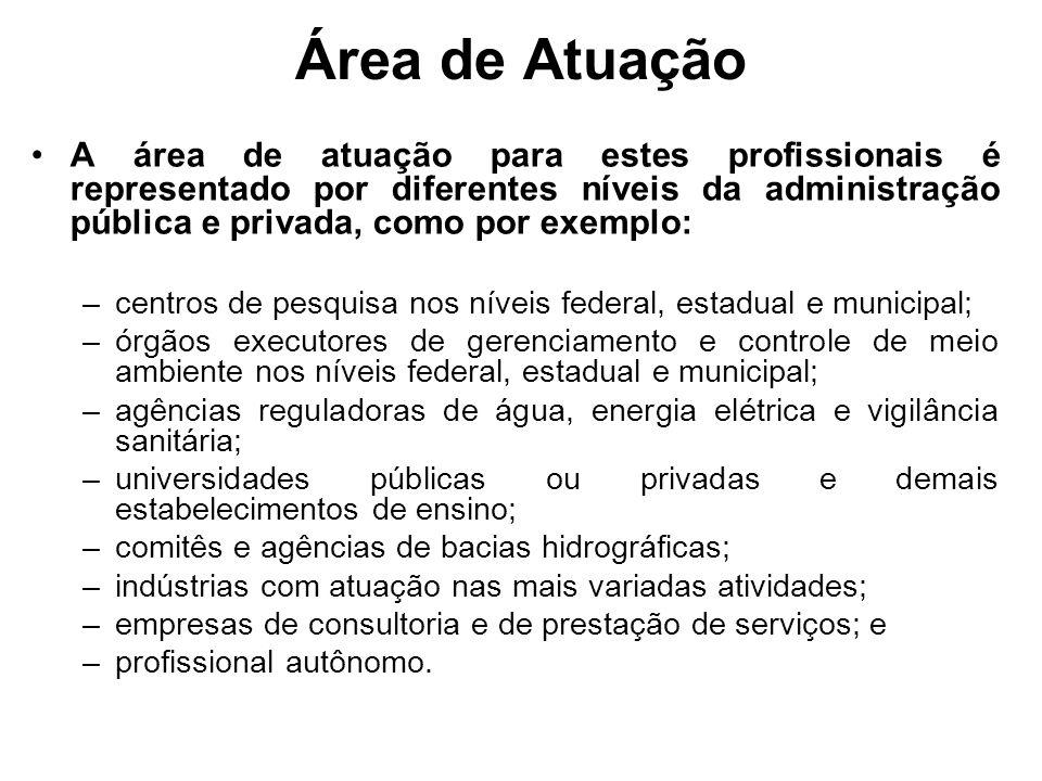 Área de Atuação A área de atuação para estes profissionais é representado por diferentes níveis da administração pública e privada, como por exemplo:
