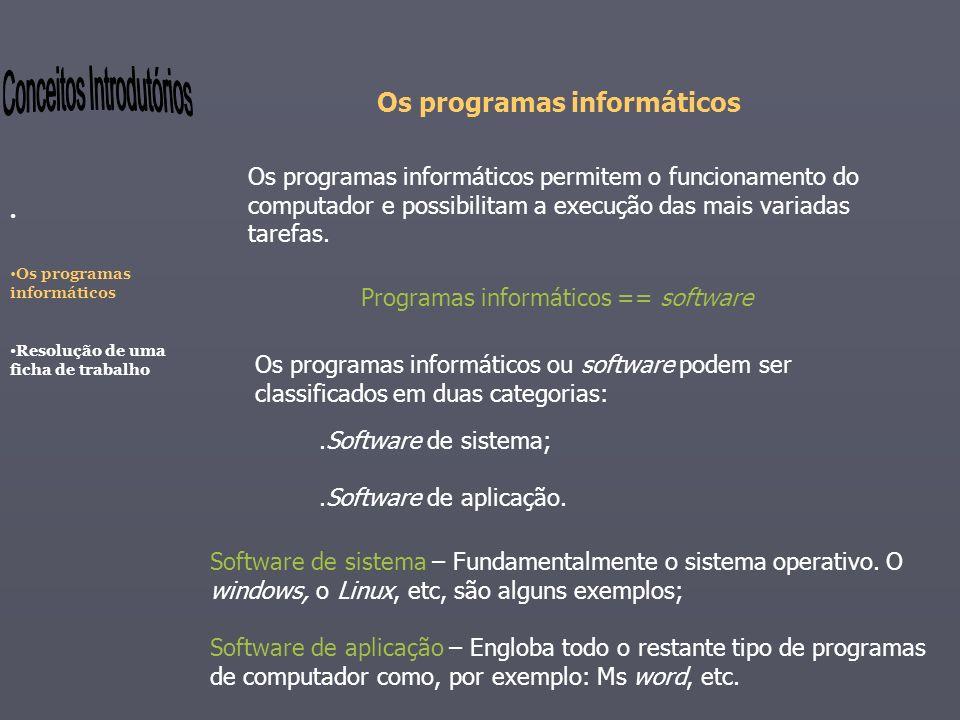 Os programas informáticos