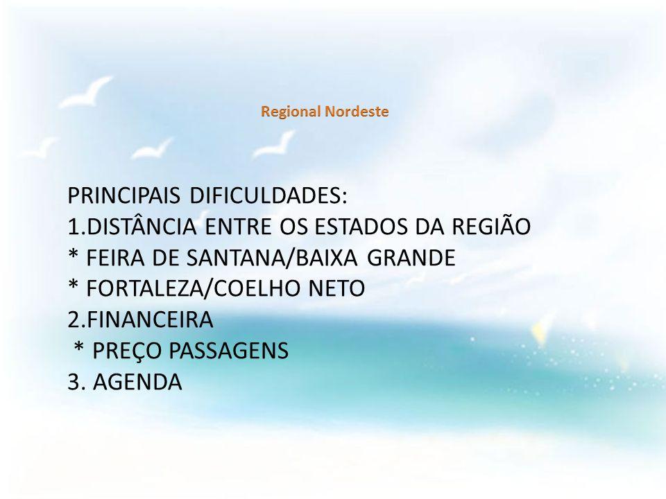 PRINCIPAIS DIFICULDADES: 1.DISTÂNCIA ENTRE OS ESTADOS DA REGIÃO