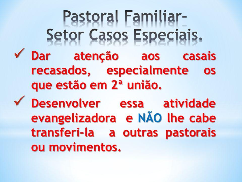 Pastoral Familiar– Setor Casos Especiais.