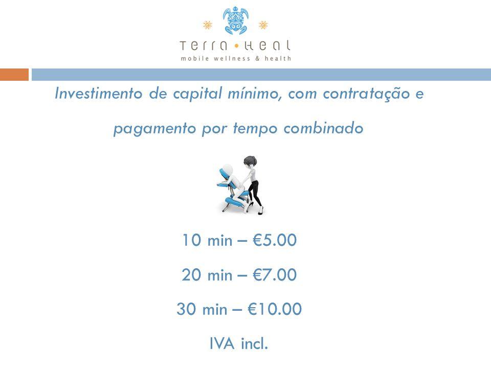 Investimento de capital mínimo, com contratação e pagamento por tempo combinado 10 min – €5.00 20 min – €7.00 30 min – €10.00 IVA incl.