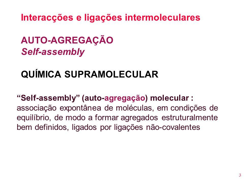 Interacções e ligações intermoleculares AUTO-AGREGAÇÃO Self-assembly