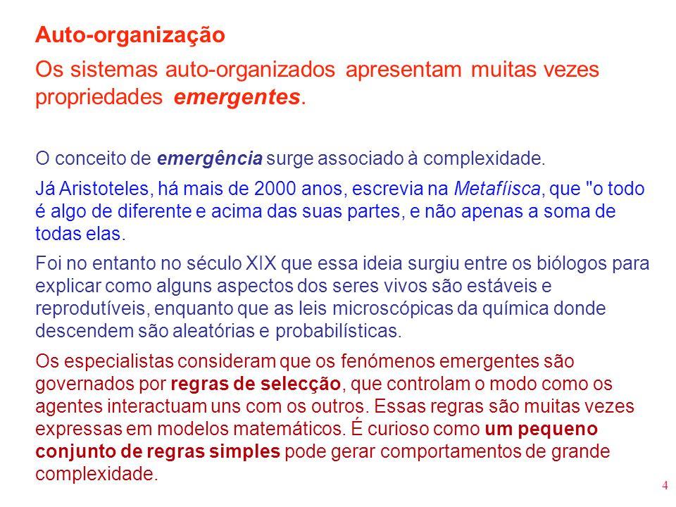 Auto-organização Os sistemas auto-organizados apresentam muitas vezes propriedades emergentes.