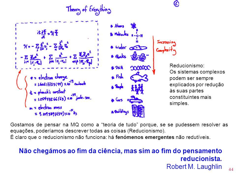 Reducionismo: Os sistemas complexos podem ser sempre explicados por redução às suas partes constituintes mais simples.