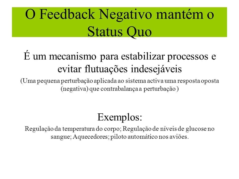 O Feedback Negativo mantém o Status Quo