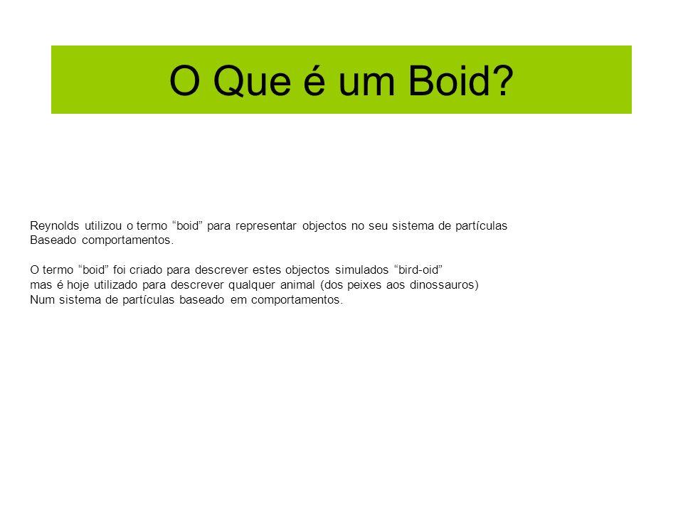 O Que é um Boid Reynolds utilizou o termo boid para representar objectos no seu sistema de partículas.