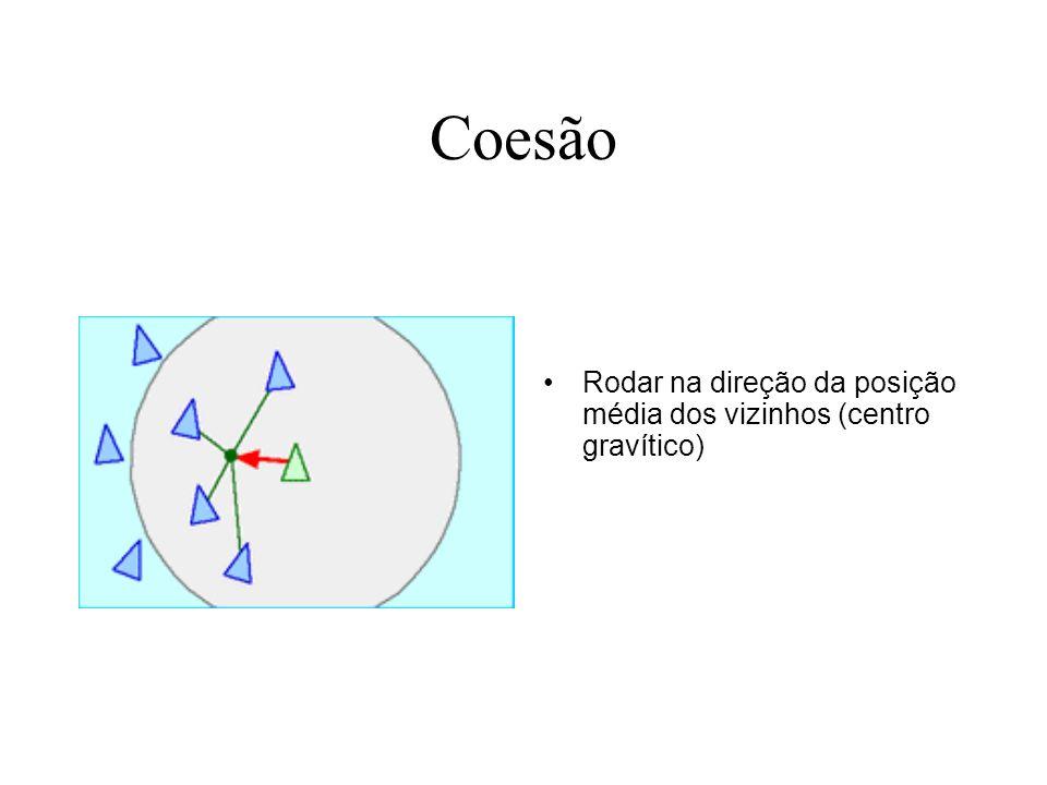 Coesão Rodar na direção da posição média dos vizinhos (centro gravítico)
