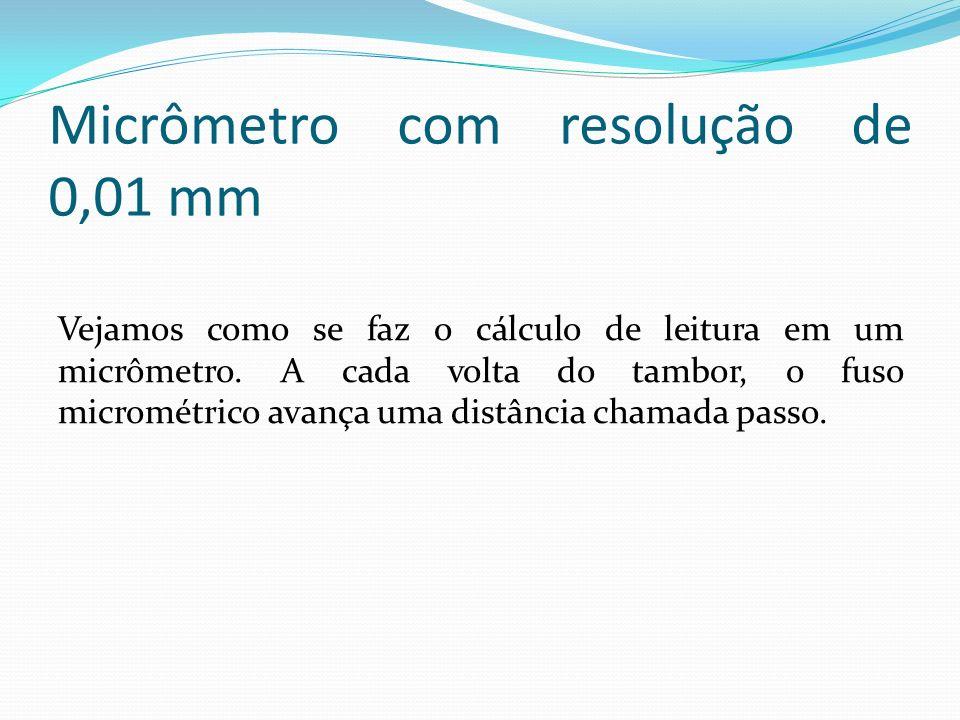 Micrômetro com resolução de 0,01 mm