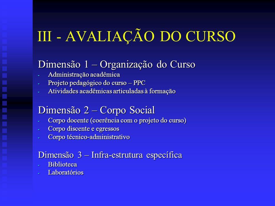 III - AVALIAÇÃO DO CURSO