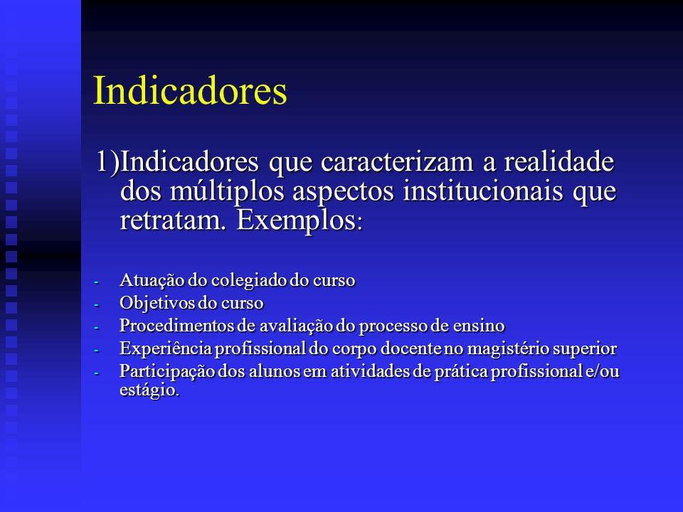 Indicadores 1)Indicadores que caracterizam a realidade dos múltiplos aspectos institucionais que retratam. Exemplos: