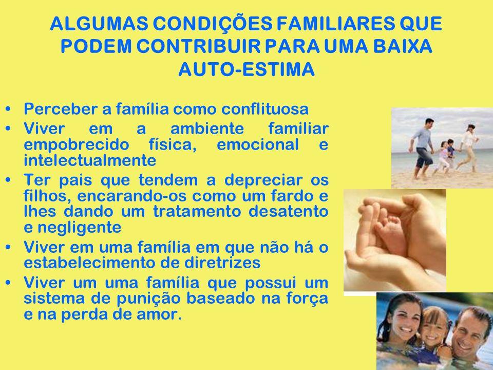 ALGUMAS CONDIÇÕES FAMILIARES QUE PODEM CONTRIBUIR PARA UMA BAIXA AUTO-ESTIMA